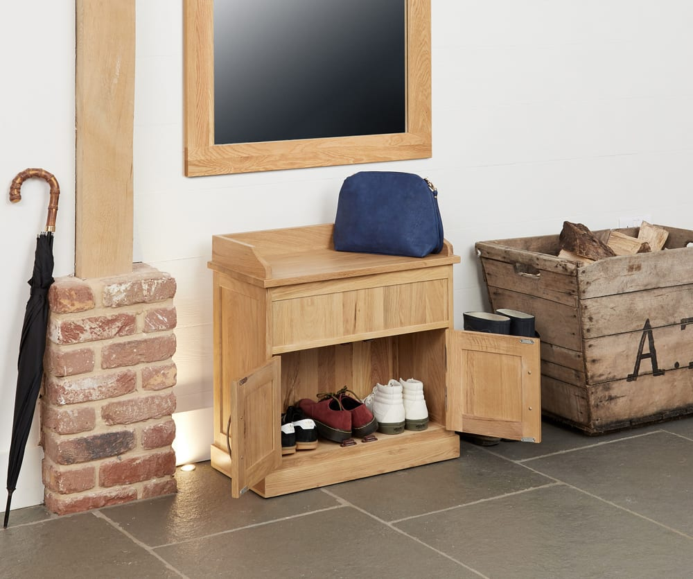 Mobel Solid Oak Furniture Shoe Storage Hallway Bench: Mobel Solid Oak Shoe Bench With Hidden Storage COR20C